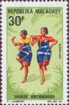 Two young girls of the Antandroy tribe dancing