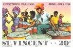 Steel drum band and dancers; Kingstown carnival